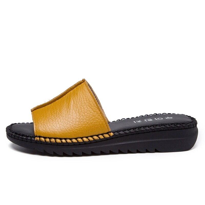 DRKANOL Handmade Sewing Genuine Leather Summer Women Slippers Open Toe Sandals Woman Shoes Flat Slippers Beach Flip Flops 2