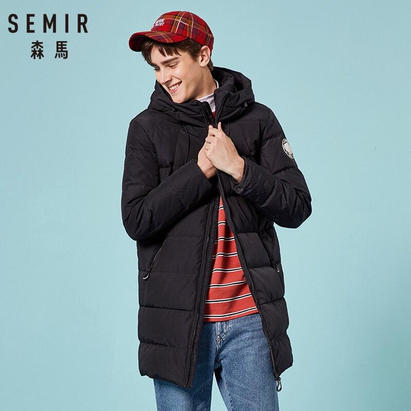 SEMIR Thicken winter men   down   jacket brand-clothing hooded warm duck   down     coat   male puffer long jacket Male Windproof Parka