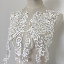 2 pieces Luxury Sequined Alencon Lace Applique in Ivory, Bridal Gown Wedding Dress Back Bodice Hem Trian