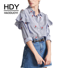 купить HDY Haoduoyi 2019 Floral Embroidery Stripe Women Blouse Long Frill Sleeve Shirt Collar Button Down Vintage Shirt For Women дешево