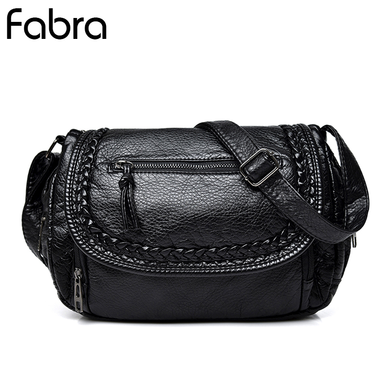 Fabra New Small Size Women Messenger Bags Casual Flap PU Leather Braid Small Crossbody Shoulder Hobos Bag Long Strap Bags Black