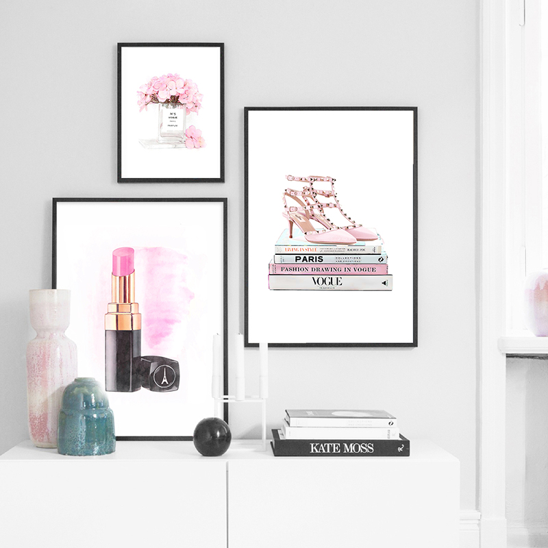Book Perfume Lipstick Paris Brand Posters And Prints Wall Art Canvas Painting Decoration Pictures For Living Room Fashion Decor