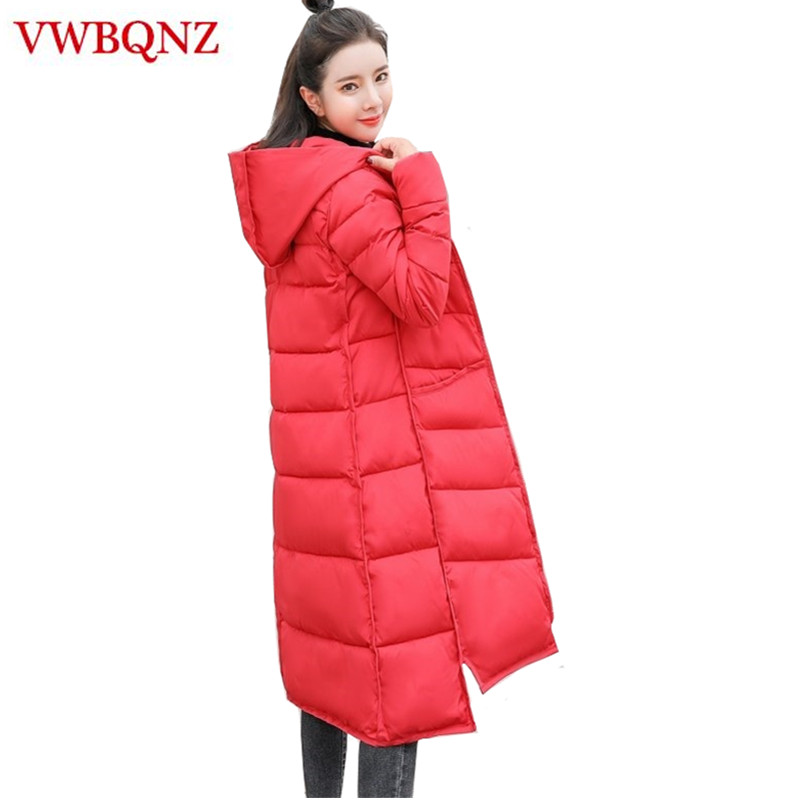 Hot Women   Parkas   New Winter Jacket Hooded Coat Warm Slim Thick Cotton Long Outerwear Plus size solid winter Women jacket