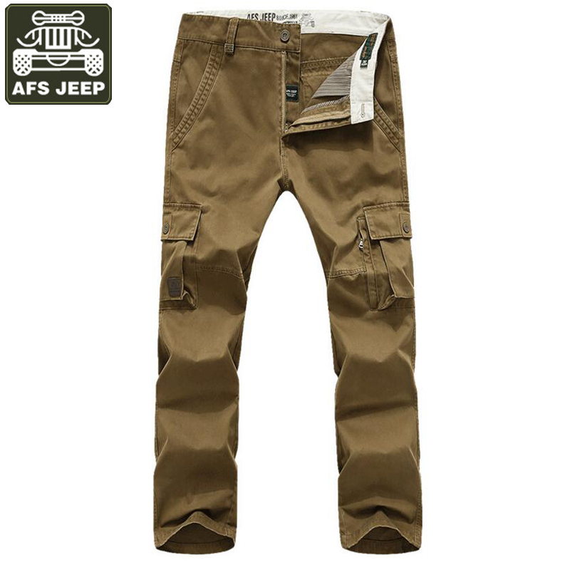 AFS JEEP Brand Mens Pant 100% Cotton Cargo Pants Men Solid Mid-waist Army Military Trousers Multi-pockets Tactical Pants Male ganyanr brand military tactical cargo outdoor long pants men army training cotton hunting hiking outdoors sports trousers solid