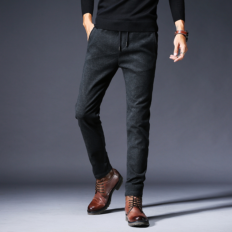 Mens jeans wool thick work pants new autumn and winter business casual straight classical trousers male large