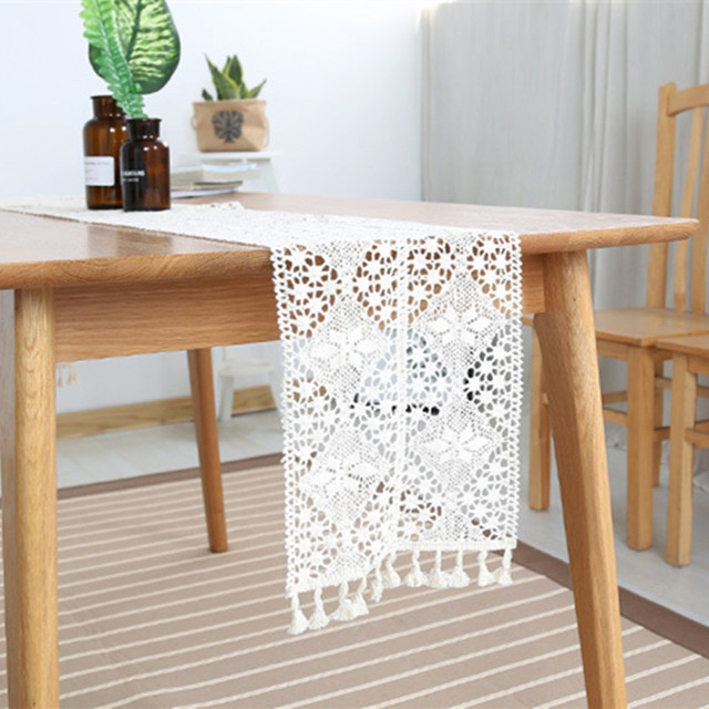 New Table Runners Lace Rectangle White Color Dinner Coffee Tables Flag Geometric Home Decorative Covers Wedding Decoration