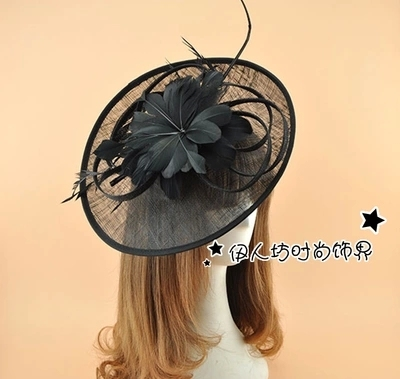 Vintage Multi cor de noiva chapéus para a mulher chapéus Pillbox chapéu de convidados do casamento de noite Formal Headwear pena pousar Fascinator