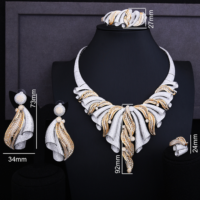 Super Luxury Twist Half Of Bowknot Full Micro Cubic Zirconia Jewelry Set