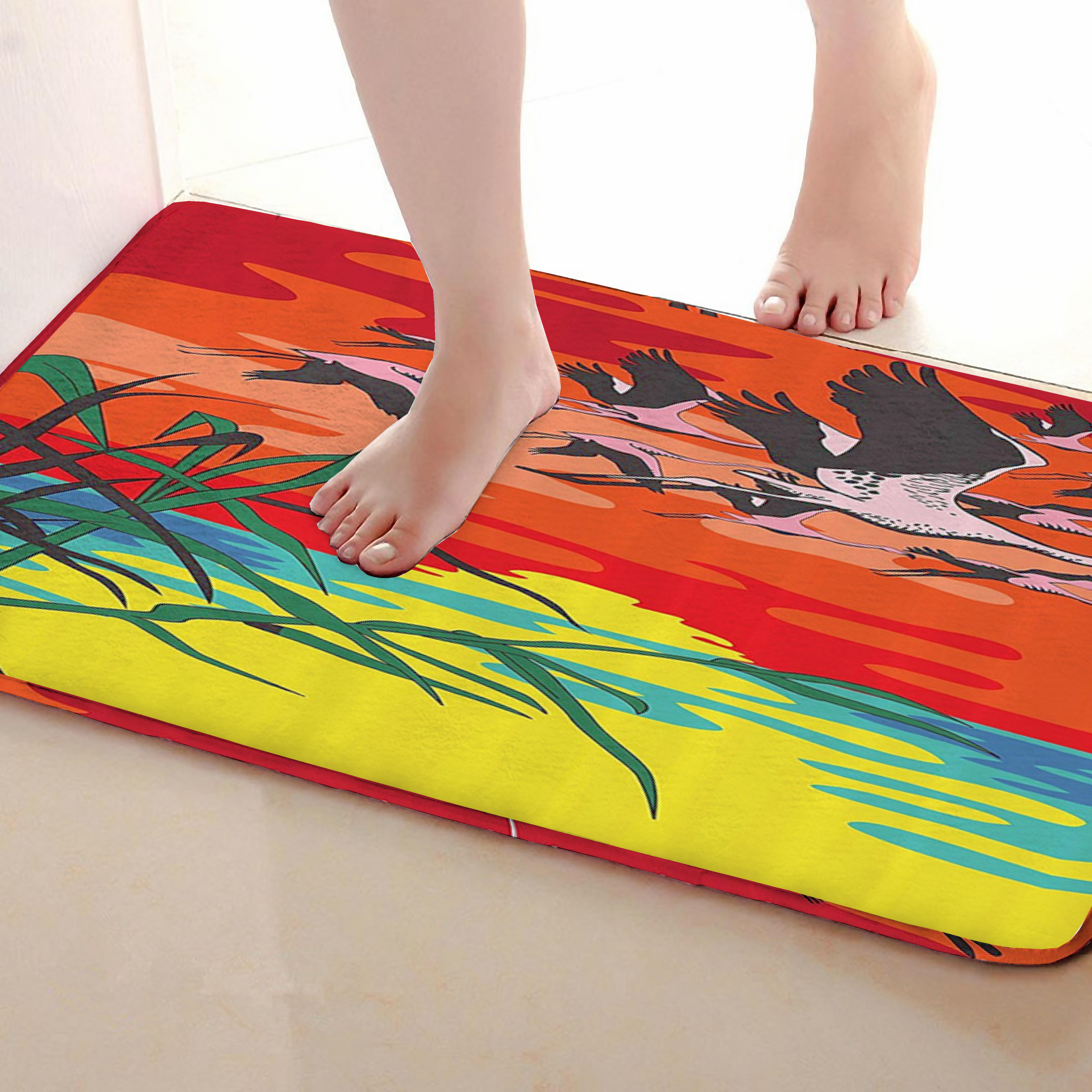Flamingo Style Bathroom Mat,Funny Anti skid Bath Mat,Shower Curtains Accessories,Matching Your Shower Curtain
