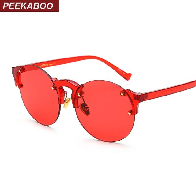 c4f0058683 Peekaboo rimless clear sunglasses women transparent candy color orange yellow  red fashion sun glasses round men