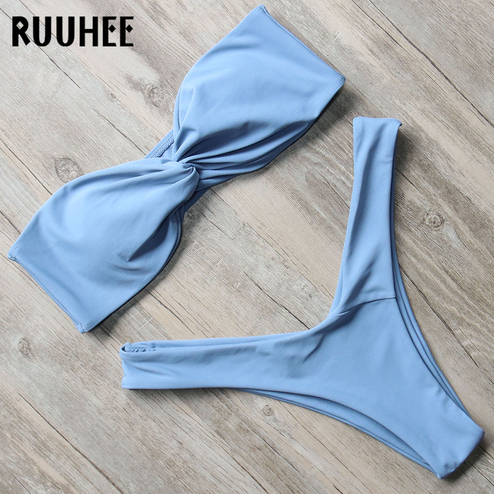RUUHEE Bikini Swimwear Women Swimsuit Sexy Thong Bikini Set 2018 Bathing Suit Bandeau Female Beachwear Swimming Suit With Pad fashionable embroidery bandeau bikini set for women