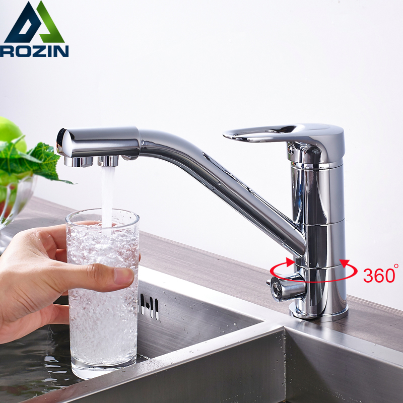Best Quality Bright Chrome Kitchen Faucet Mixer Tap 360 Rotation Water Purification Bathroom Kitchen Crane Pure Water Taps