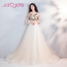 AXJFU Princess champagne flower lace evening dress vintage illusion o neck beading beach 6907
