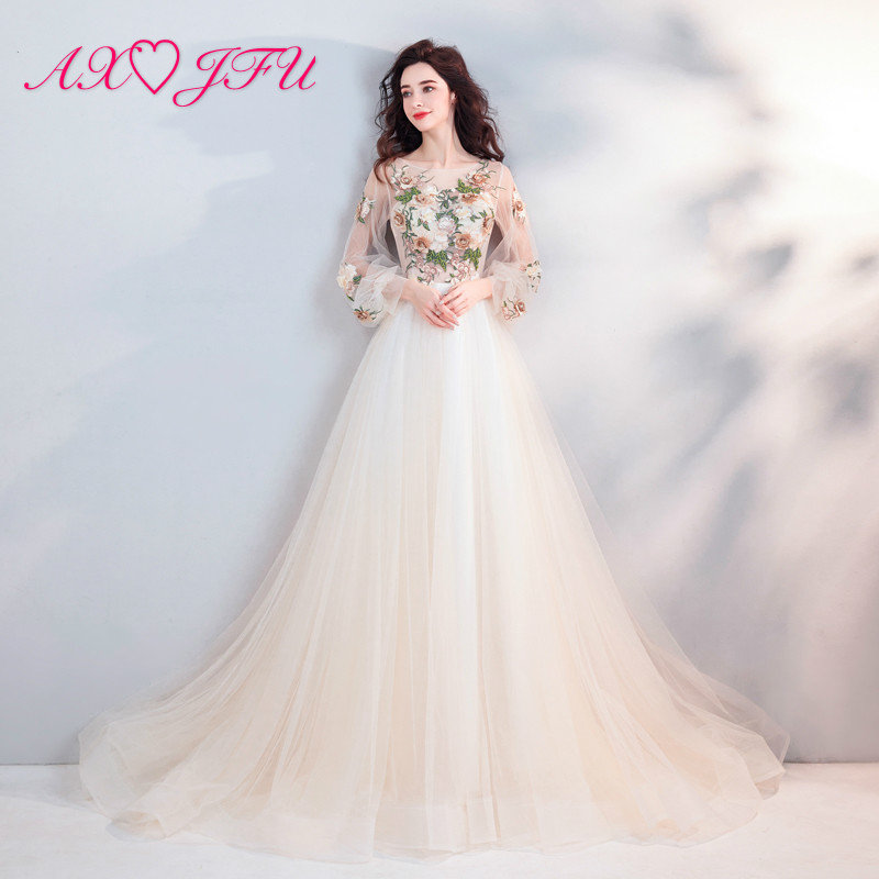AXJFU Princess champagne flower lace   evening     dress   vintage illusion o neck beading beach   evening     dress   6907