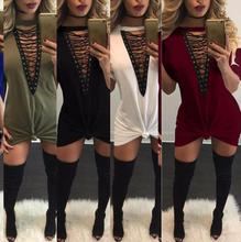 Deep V Neck Lace Up Bandage Party Dresses