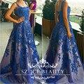 Mujeres Largo Vestido de Noche Azul Real Vestido De Festa Apliques Con Cuentas Correa de Espagueti 2017 Formal Vestidos de Baile Vestido de Una Línea