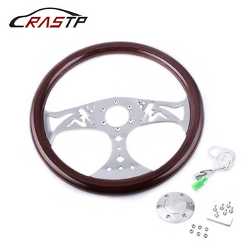 15inch 380mm Real Wood Grain Steering Wheel Classic Sport Style Solid Wood Quality Steering Wheel With Horn Button RS-STW015-C