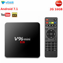 V96 Smart Mini Android 7.1 TV Box 2+16GB Google TV Media Player Receiver Allwinner H3 Quad Core HD 4K H.265 WIFI Netflix Youtube