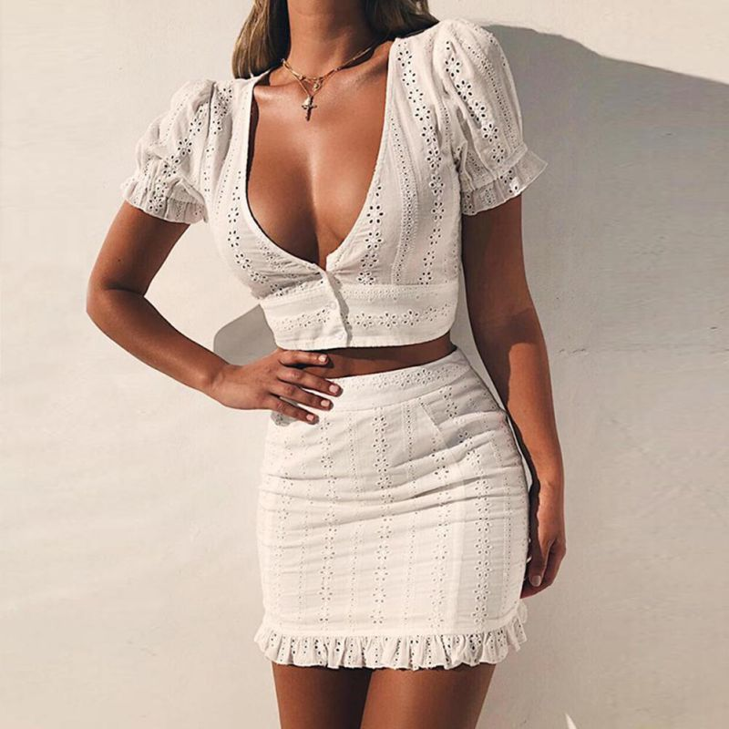EFINNY White Two Pieces Set Women Solid Tight Crop Top Sexy Package Hip Skirt Clothing