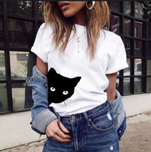 European and American Explosion Cat Pattern Printing Round Neck Slim Short-sleeved T-shirt