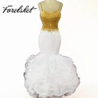 Sexy Afrikaanse Wit en Goud Prom Dresses Mermaid 2017 Spaghetti Applicaties Lace Ruches Organza Backless Lange Prom Dress