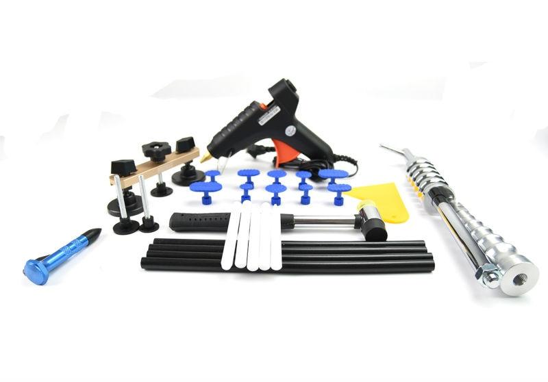 PDR Tool kit Paintless Dent Repair Bridge Puller Set Red Dent lifter glue gun 5 second fix liquid plastic welding kit uv light repair tool glue kit