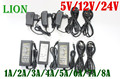 EU/US/UK/AU Power Supply Adapter Transformer AC 110-240V to DC 5V 12V 24V 1A 2A 3A 4A 5A 6A 7A 8A  10ALED Strips Light Converter