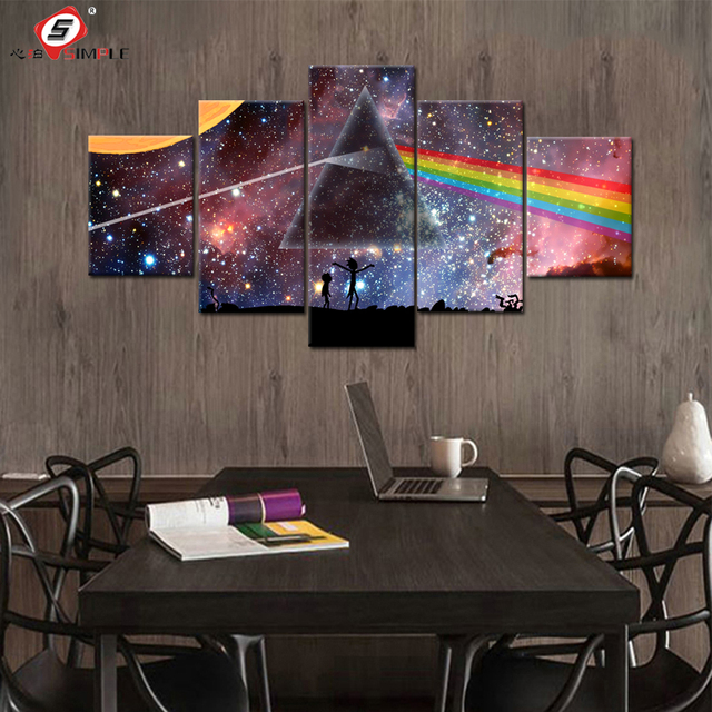 Pink Canvas Painting Mitsubishi Mirror Rainbaw Color Star Space HD Canvas  Print Set Home Decor Picture