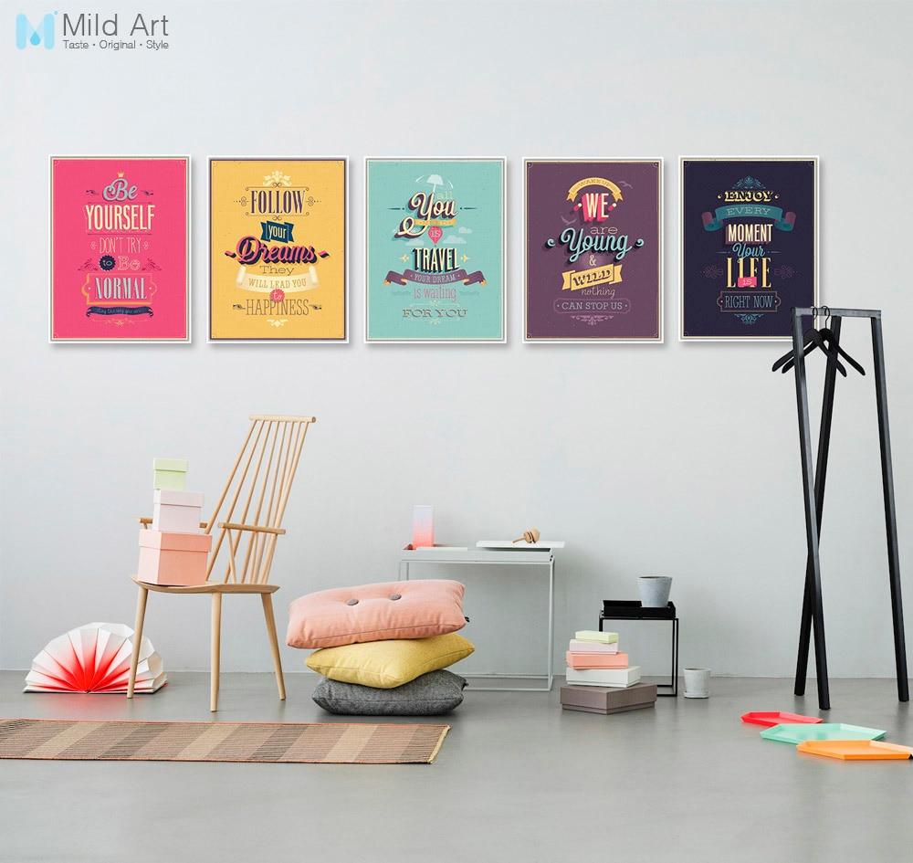 Moderní motivační život citace A4 Plakát tisk Hippie barevný stěna Umělecká fotografie Vintage Nordic Home Decor Plátno malování Vlastní