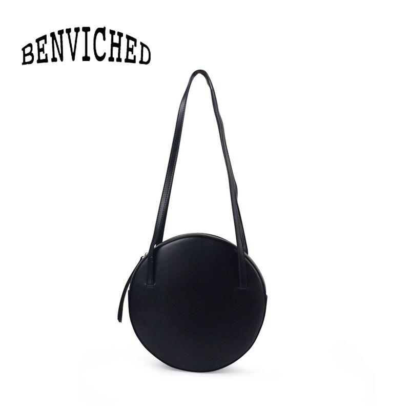 Bolso redondo de cuero genuino de ganado de mujer BENVICHED 2019 nuevo bolso de mano de color puro de un solo hombro mini bolso retro c392