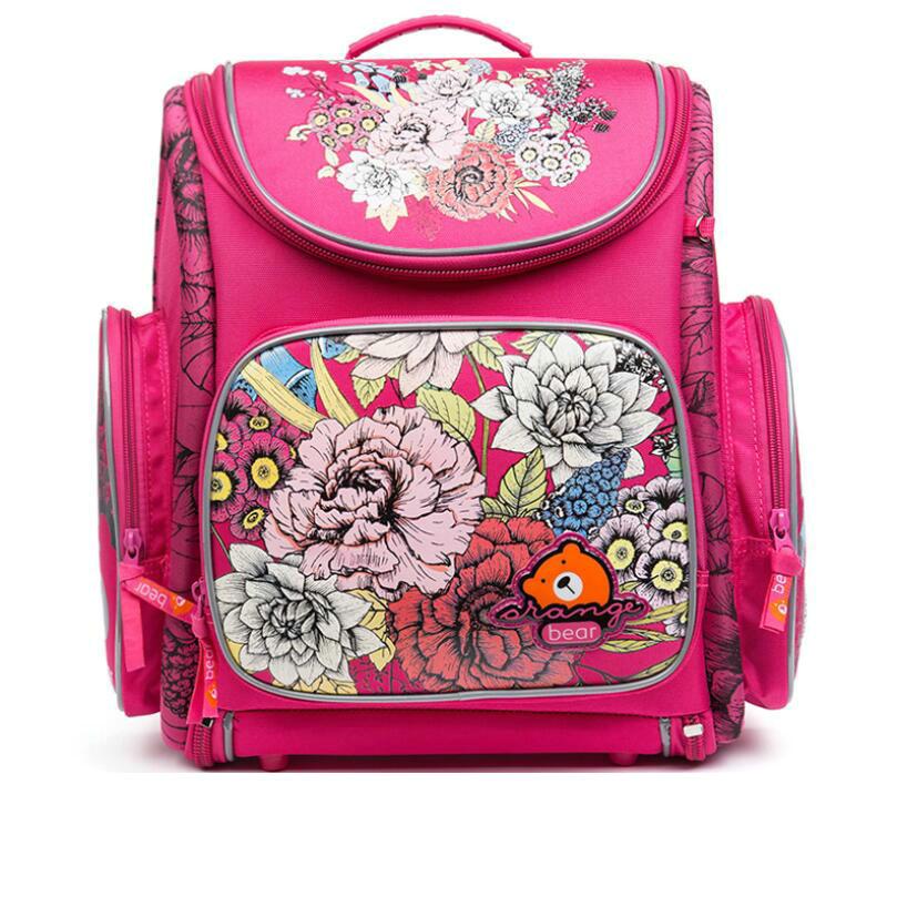 Russian Brand Grizzly Children School Bags for Girls 3D Flower Print Nylon Orthopedic Backpack School Portfolio Kids Knapsack