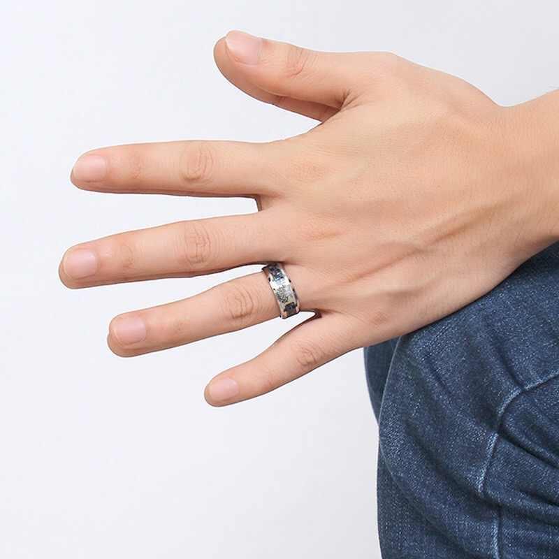 คาร์บอนไฟเบอร์แหวนสำหรับพ่ออุปกรณ์เสริมผู้ชายสแตนเลสพระเยซูปลา/Tree of Life ออกแบบเครื่องประดับของขวัญ Drop การจัดส่ง r-281