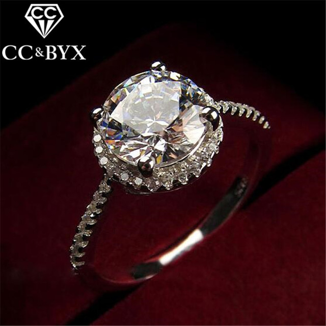 CC Jewelry Fashion Sterling Silver Rings For Women Luxury Round Engagement Ring