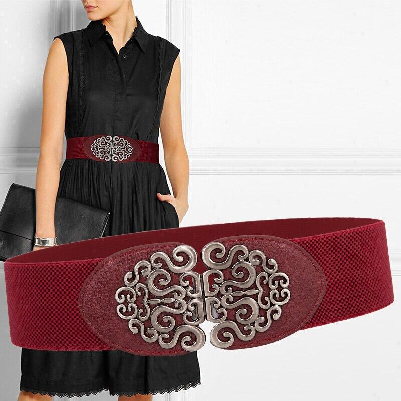 6CM Wide Ladies Belt PU Leather Material Vintage Ethnic Style Dresses Delicate Buttons Fashion Elegant Women Cummerbunds