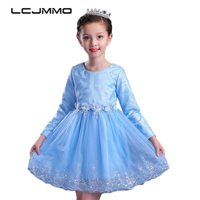 LCJMMO New Brand Girl Party Dress 2017 Princess Baby Girls Clothes Long Sleeve Flowers Children Bridesmaid Elegant Dresses 4-12Y