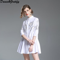 cotton embroidery shirt dress new 2018 spring white brand runway office lady fashion street style women casual loose dress