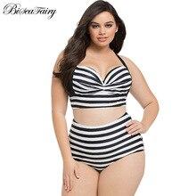 2016 Новый Bikinis Высокая Талия Купальник Женщины Плюс Размер Купальники Большой размер Печати Старинные Ретро Плед Пляж Push Up Бикини Набор 4XL