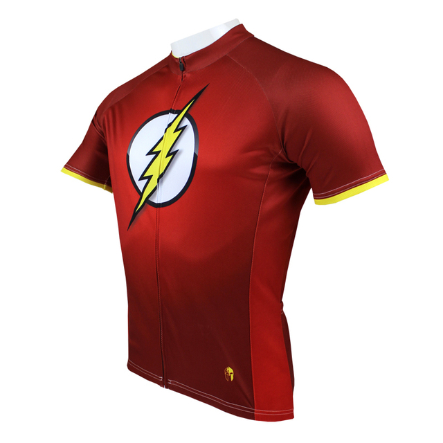 Quick Dry Superhero The Flash Man Cycling Jerseys Short sleeve Polyester bike  jersey xxxl mens sports jersey a43aa33d3