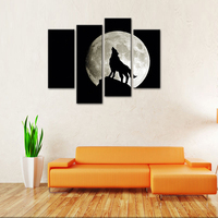 4 Pieces Wall Art Painting Wolf Moon Darkness Calming Black Fantasy Ultra Canvas Paintings For Home Decoration Wooden Frame