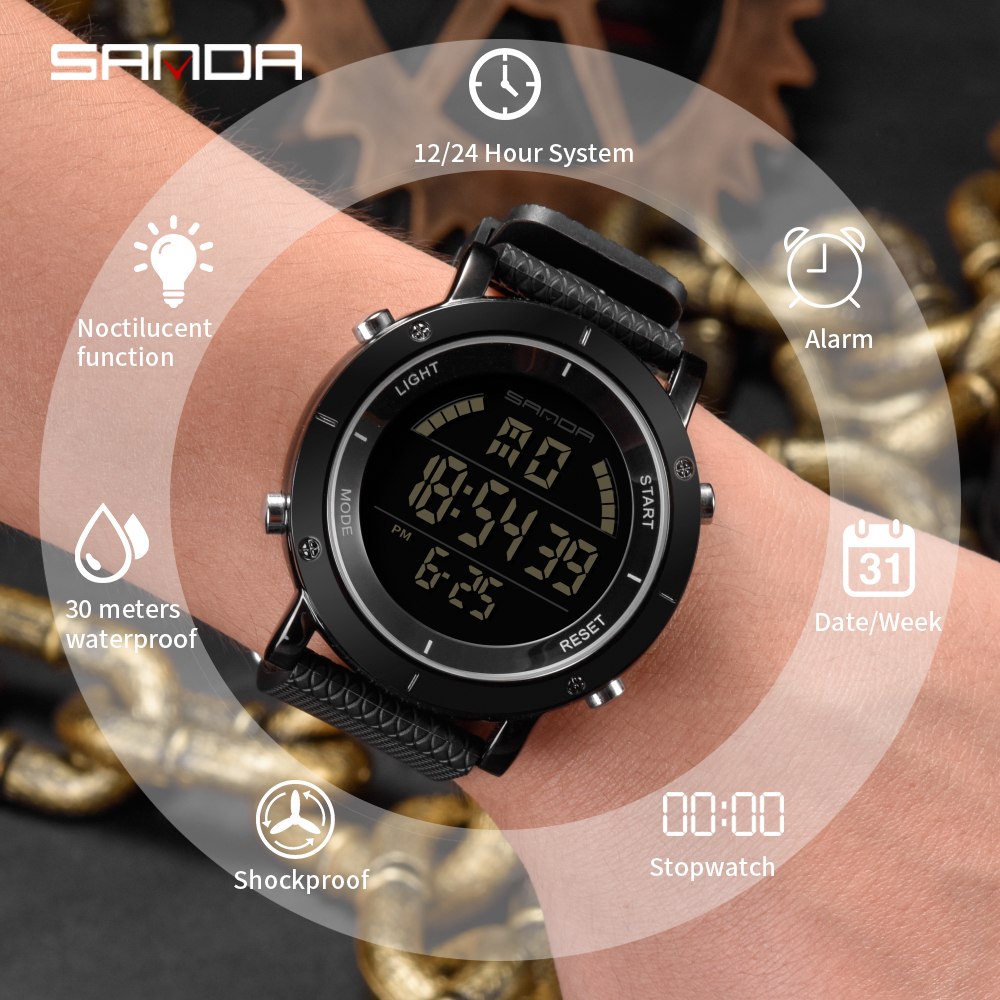 New fashion SANDA top luxury brand men's sports waterproof watch LED luminous men's sports waterproof watch Relogio Masculino