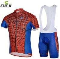 2014 NEW Summer Spider Man Red Short Sleeve Cycling Jersey Bib Shorts Set Bike Bicycle Wear