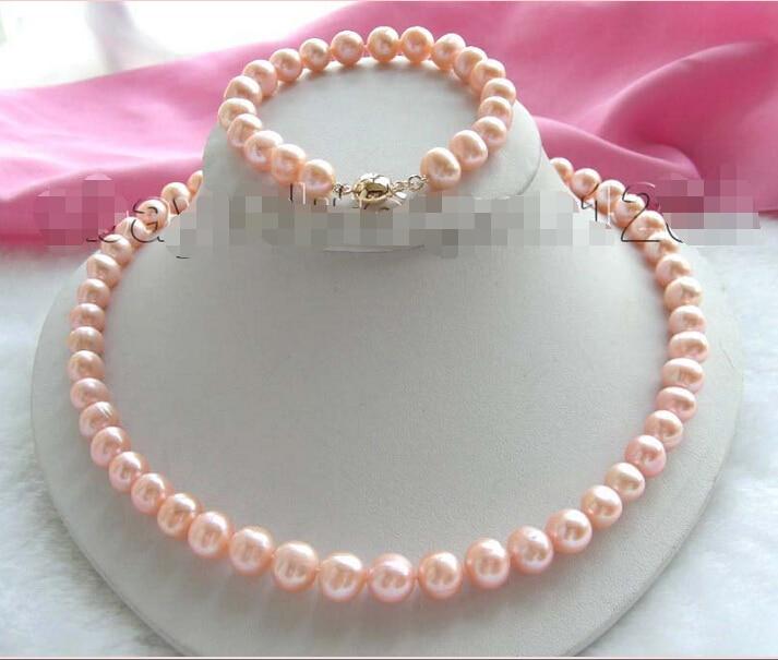 ShippingGenuine Naturel 10mm Rose Collier de Perles Bracelet Ensemble! (A0423)