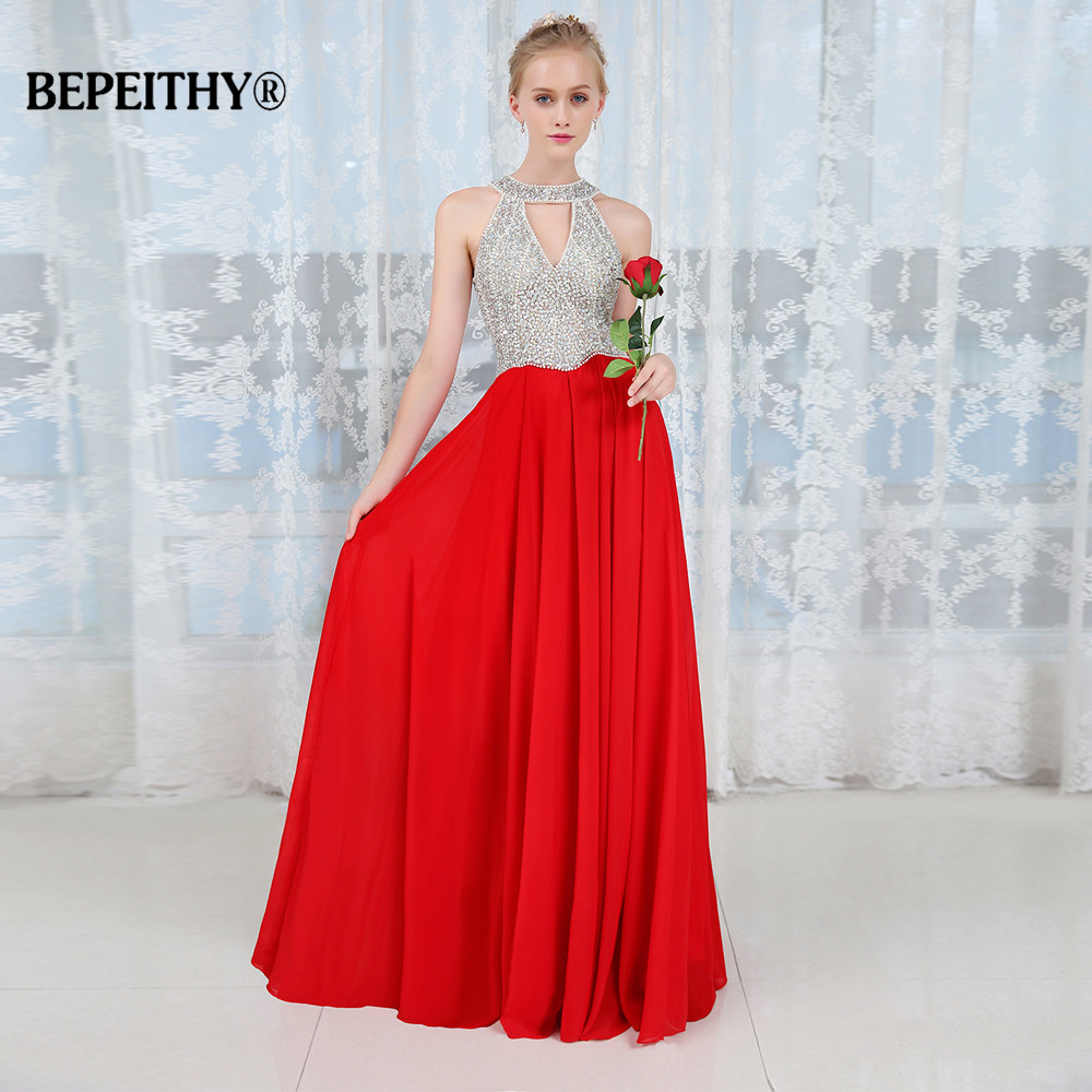 Elegant Halter Crystal Bodice A Line Long Slim Evening Dress Beadings Red Party Dresses Vestido De Festa New Prom Gowns