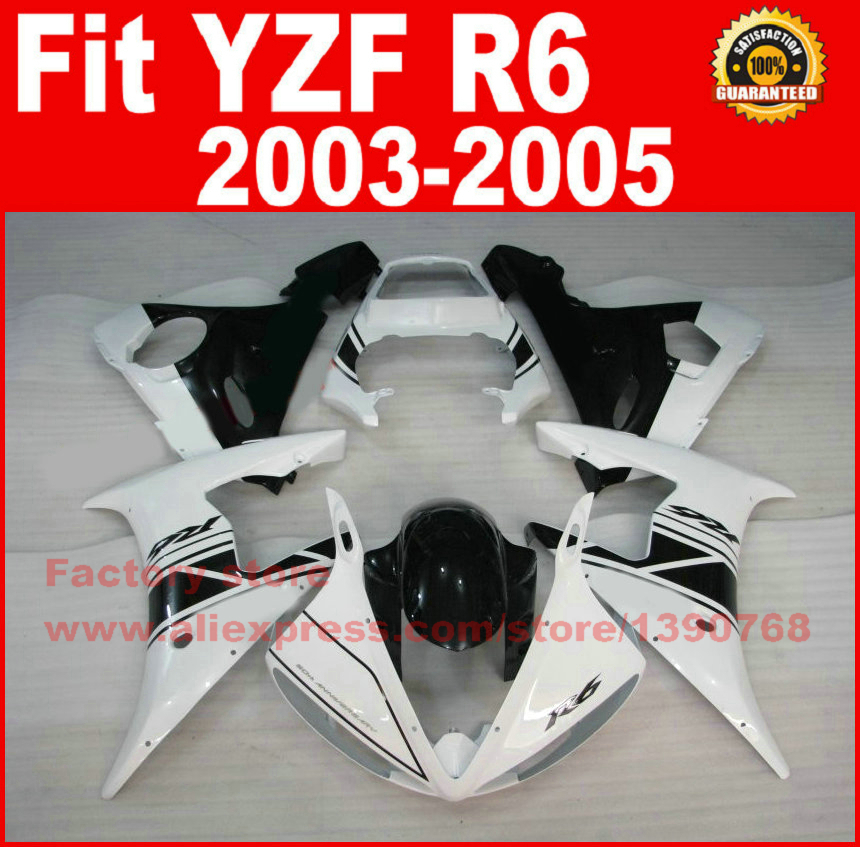 ABS plastic motorcycle fairings set for YAMAHA YZF R6 2003 2004 2005 YZFR6 03 04 05 white black fairing kits bodywork parts motorcycle front light headlight head lamp for yamaha yzf r6 yzfr6 yzf r6 2003 2004 2005 03 04 05