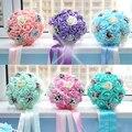 2016 Новый Ручной Розы Цветы Жемчуг Свадебные Искусственный Цветок Свадебный Букет Невесты Лента Холдинг Букет 6 Цветов BQ6001