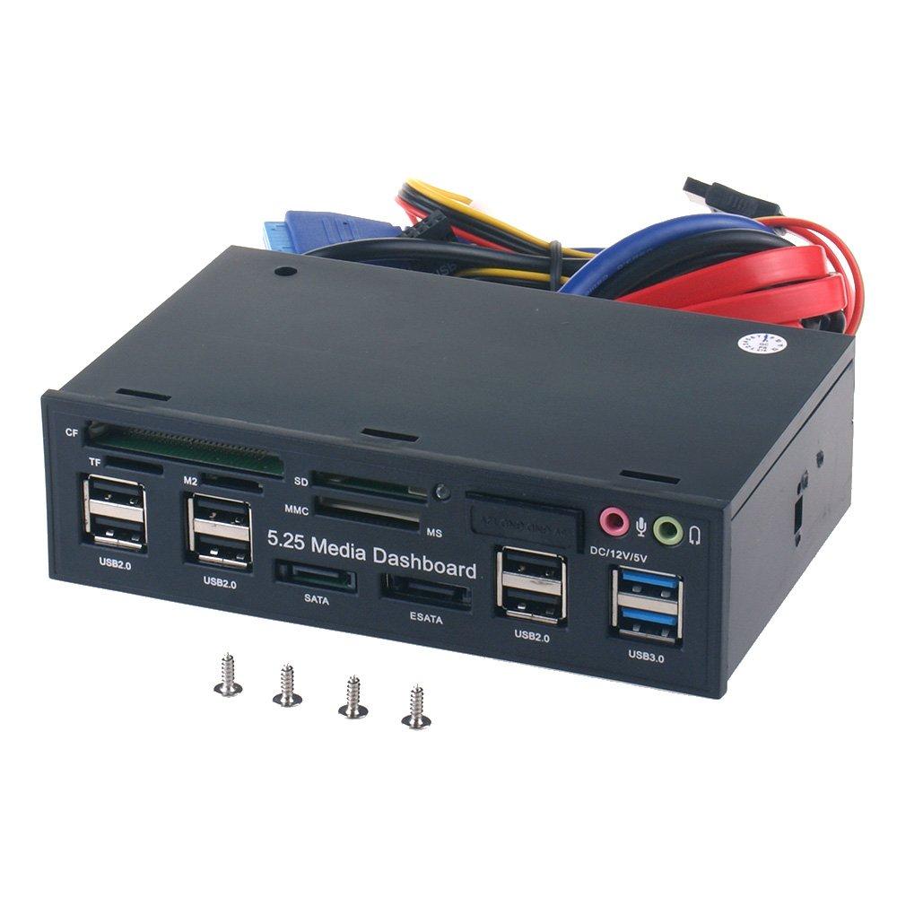 5.25 Inch PC Multifunction Dashboard Media Front Panel, With SATA E-SATA Dual USB 3.0 6 Port USB 2.0 Audio Ports And