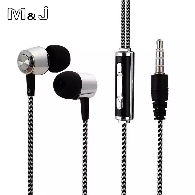 M J A13 New Plating Stereo Bass Earphone wire braid Earbuds In Ear Earbus 3 5mm