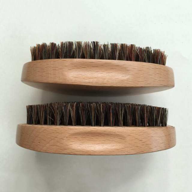 Natural Boar Bristle Beard Brush Mustache Military Round Wood Handle Men's Beard Brush Face Message Facial Hair Beard Oil M02955