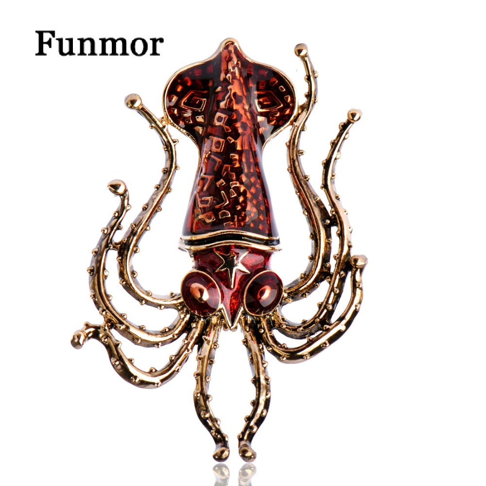 Funmor Vivid Octopus Squid Brooches Anti Gold Color Enamel Vintage ...