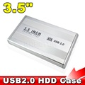 2016 Hot Sale 3.5 inch USB 2.0 SATA External HDD HD Hard Drive Enclosure Case Cover Box Silver Color